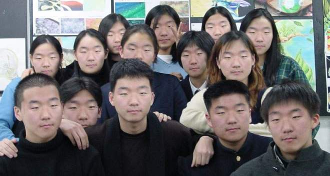 Edited photo with a face photoshopped onto 10 different heads